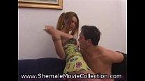 Hot Shemale Catches Cum!