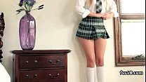 Innocent blonde schoolgirl gets fucked and facialized