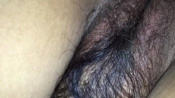 Hairy wife in black bra & tight asshole enjoying doggy style with husband friend