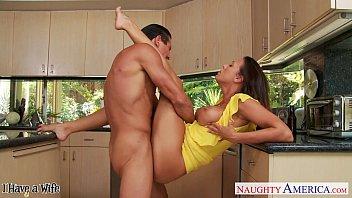 Brunette wife Rachel Starr taking cock in kitchen 8 min
