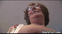 Granny Strips And Teases Her Hairy Pussy