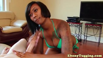 Gorgeous ebony bikini babes pov handjob fun