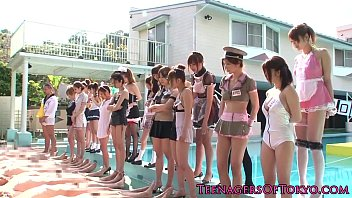 Awesome asian groupsex fun with costume teens