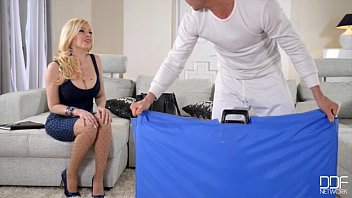 Big Titty Blonde gets fucked in all Holes