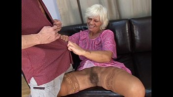Mature hairy granny in absolute sex with young man on sofa