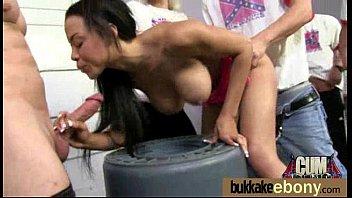 Cum loving teen enjoys huge bukkake! 24