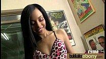 Ebony girlfriend takes huge loads of cum on her face 24