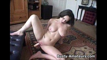 Busty Jennifer masturbates her shaved pussy