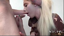 Sublime amateur french blonde teen gets her tight asshole pounded in threeway