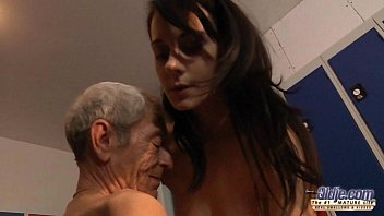 Young girl is so kinky that fucks an old fart in a locker room