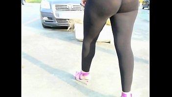 transparent spandex legging  street shoping Booty sexy milf