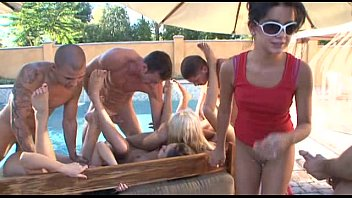 tanner mays and  amy reid pool party