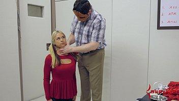 Sweet blonde schoolgirl gets b. anal hatefuck on pogo stick