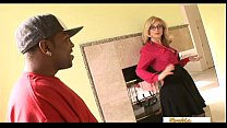 Enormous black cocks make this mature blonde a really happy woman