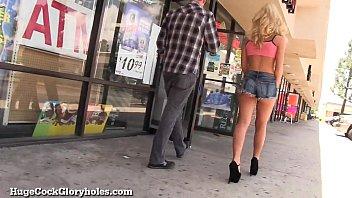 Hot Blonde Sucks Huge Gloryhole Cock!