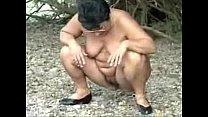 Pervert granny having fun outdoor. Amateur