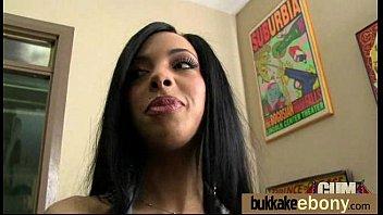 Gorgeous ebony lady sucks white dicks and gangbang fucking 23