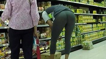 wearing see thru leggings in supermarket
