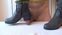 Miss Diana extreme black boots trample and CBT