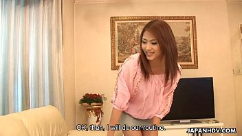 Asian maid getting her master off with a jack off