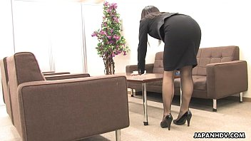 Asian office worker rubs her wet pussy up