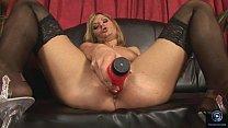 Victoria Shine masturbates with a huge red dildo