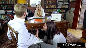 Sexy Student Emma Leigh Sucking Off Co-Ed in Front of Principal Rebecca Moore