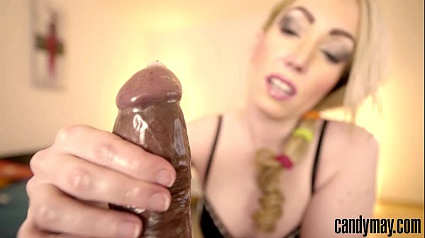 Candy May - Jerks off BBC with condom
