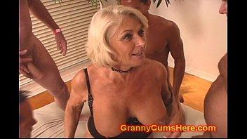 Granny gets a GANG BANG and Cum Bath