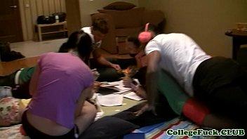 College teens fucking on a study break