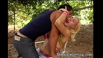 Blonde shemale gets fucked anally