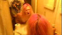 White girl with pink hair getting fucked by bbc in bathroom
