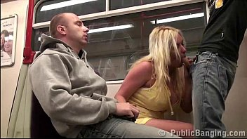 Subway train PUBLIC gangbang threesome with a girl with big tits