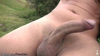 Honey shemale exposes nude ass and strokes her thick shecock