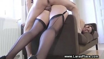 British in stockings reverse cowgirl