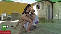 Summer fucked in the pool outdoors with Pamela very wet close to my neighbours