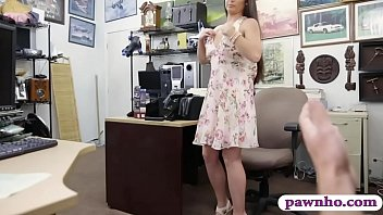 Brunette pawns her pussy and gets fucked by pawn dude