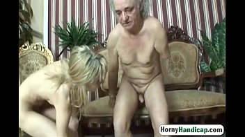 Horny old fart with body handicap fucks classy young blonde-hi-3