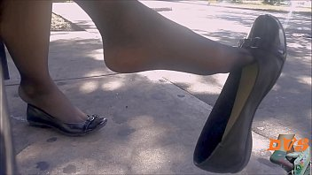 Shoeplay with stockings and flats 2 min