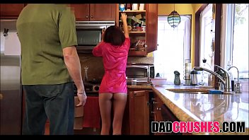 Making daddy breakfast when he came in the kitchen and fucked me