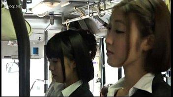 Asian lesbians in bus