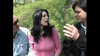 Sexy girl walking on a park taken and fucked by two bad guys 23 min