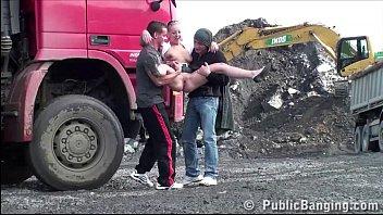 Cute teen girl PUBLIC sex construction site gangbang threesome