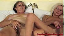 Granny rubbing pussy with smalltits babe