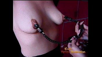 Kinky brunette slag gets tied up and has her boobies pleasured