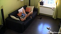 Doggy style masturbation of the hot black-haired teen