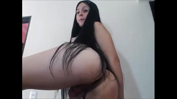 Brunette Teen Shemale Dildoes Her Own Ass and Jerks Off