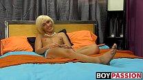 Blonde twink Ryan Morrison jerking off in front of camera