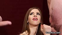 Unusual bombshell gets cum load on her face swallowing all the load