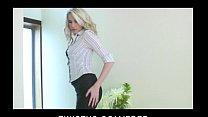 Stunning blond bombshell shows off her stockings then masturbates